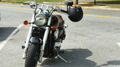 Motorcycle Parked on Road with Helmet, 4K Stock Footage