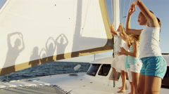 Caucasian Family Fun Play Sailing Luxury Yacht Games Travel Ocean Vacation - stock footage