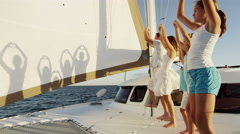 Young Caucasian Sisters Holiday Parents Group Yacht Sail Shapes Arkistovideo