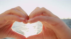 Young Female Hands Shape Heart Social Media Message Welcome Outdoors Ocean Stock Footage