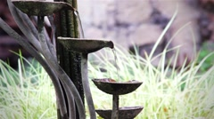 Small Water Fountain Flowing Water Stock Footage