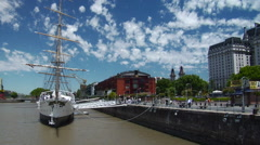 Buenos Aires Puerto Ship On River Stock Footage