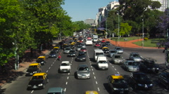 Buenos Aires Four Lane Traffic 02 - Time Lapse Stock Footage