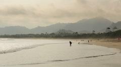 Long coastline of Merah Beach in Banyuwangi,Java, Indonesia Stock Footage