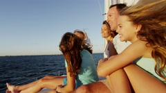 Young Caucasian Sisters Holiday Parents Group Tourism Yacht Sailing Portrait Stock Footage