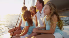 Caucasian Family Group Together Luxury Lifestyle Yacht Tourism Promotion - stock footage