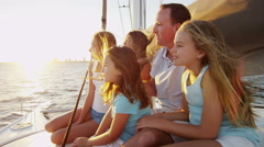 Loving Caucasian Parents Young Daughters Luxury Yacht Carefree Success Arkistovideo