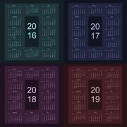 Calendar 2016 2017 2018 2019 starting from sunday - stock illustration