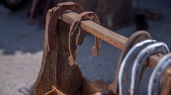 Iron horseshoes on fair Stock Footage