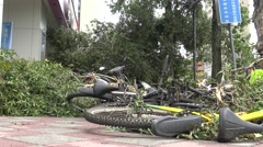 Bicycle Damage After Tropical Storm Hits Taiwan, Typhoon Soudelor 4K-Dan Stock Footage