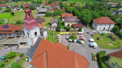 Air view on fair and on village Stock Footage