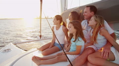 Loving Caucasian Parents Young Daughters Luxury Yacht Sail Carefree Success Stock Footage