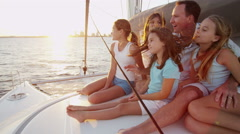 Caucasian Family Financial Planning Lifestyle Yacht Happy Summer Vacation - stock footage
