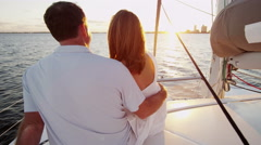 Caucasian Couple Kiss Casual Together Luxury Lifestyle Yacht Tourism Promotion - stock footage