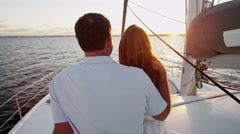 Young Caucasian Male Female Couple Holiday Tourism Yacht Casual Sailing Stock Footage