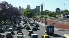 Buenos Aires Traffic - Avenida Figueroa Alcorta Stock Footage