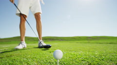 Lifestyle Golf Player Male Caucasian Successful Practice Green Club Sponsorship - stock footage