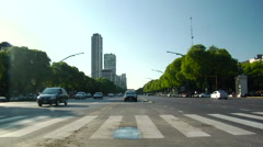 Buenos Aires Traffic Median - 01 Stock Footage