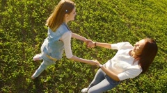Friends, young girls, caucasians, having fun outdoors in nature, slow motion. - stock footage