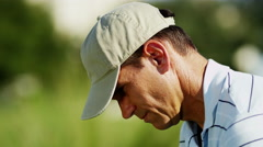 Caucasian Male Golfer Play Physical Golf Resort Global Success Target Business - stock footage