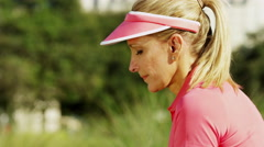 Healthy Outdoor Fitness Exercise Caucasian Female Golf Player Outdoors Activity - stock footage