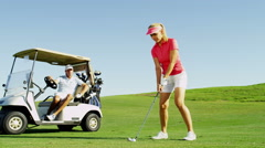Outdoor Recreation Lifestyle Activity Golf Pro Academy Female Caucasian Vacation Stock Footage
