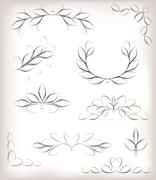 Vector seta lot of design elements with leaves and page decoration. EPS10 vector - stock illustration