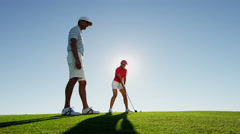 Healthy Outdoor Sport Caucasian Female Golf Player Male Coach Activity Training - stock footage
