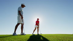 Golf Male Professional Female Caucasian Playing Training Green Wealth Leisure Stock Footage