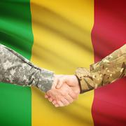 Men in uniform shaking hands with flag on background - Mali - stock photo