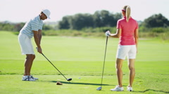 Caucasian Couple Golfer Play Physical Golf Resort Global Success Target Business - stock footage