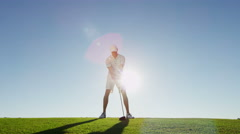 Golf Male Caucasian Playing Clubs Green Commercial Sponsorship Wealth Leisure - stock footage