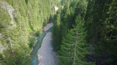 Overflight of a small mountain river Stock Footage