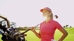 Healthy Outdoor Fitness Female Caucasian Golf Player Swing Outdoors Activity - stock footage