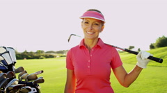 Portrait Recreation Lifestyle Activity Golf Playing Female Caucasian Vacation - stock footage