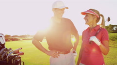 Portrait Male Female Caucasian Game Lifestyle Golf Clubs Green Outdoors Fairway - stock footage