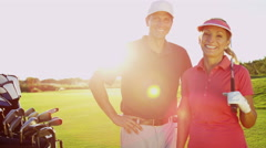 Portrait Caucasian Male Female Golf Sport Competition Course Practice Travel - stock footage