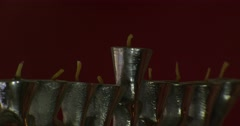 Clouse-up shot of Menorah with candles. Shot on RED 4K - stock footage