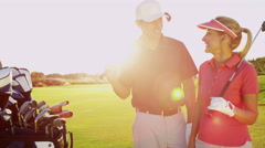 Portrait Golf Male Female Caucasian Playing Clubs Green Sponsor Wealth Leisure Stock Footage