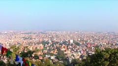 Kathmandu city skyline as seen from the Swayambhunath Stupa, Nepal Stock Footage