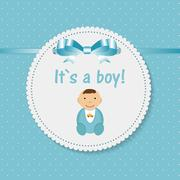 Vector Illustration for Newborn Boy - stock illustration