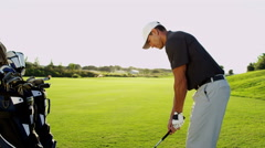 Male Caucasian Sport Game Lifestyle Golf Clubs Green Outdoors Fairway - stock footage