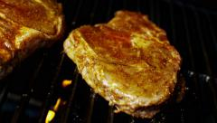 Organic Healthy Living Low Fat Flame Grill Beef T-Bone Steak BBQ Meal Option - stock footage