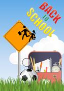 illustration of Warning school sign with schoolbag and soccerball - stock illustration
