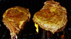 Flame Grilling Fresh T-Bone Beef Steak Diet Living Protein Modern Appliance - stock footage