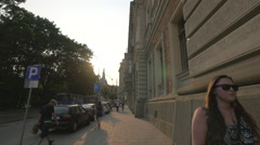 Walking on Basztowa Street in Krakow Stock Footage