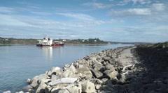 Tug boat barge on Oregon Pacific Ocean coastline Stock Footage