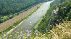 The Elbe river and cliffs of Bastei. Elbe Sandstone Mountains. Germany - stock footage