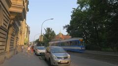 Basztowa street with the Krakow Barbican fortress, Krakow Stock Footage