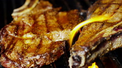 Healthy Living Diet Cooking Fresh Organic T-Bone Steak Flames Grill Barbecue - stock footage